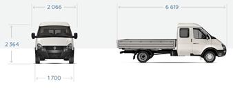 """GAZ-330273 """"Gazelle Business 4x4 Farmer"""" Bordplattform mit Markise, 6 Sitze."""