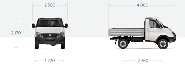 """GAZ-23107 """"Sable 4x4"""" Bordplattform mit Markise, 3 Sitze."""