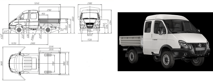 """GAZ-231073 Bordplattform """"Sable 4x4 Farmer"""" mit Markise, 6 Sitze"""