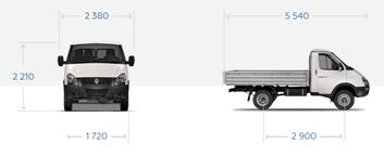 """GAZ-33027 """"Gazelle Business 4x4"""" Bordplattform mit Markise, 3 Sitze."""